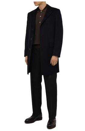 Мужской пальто из шерсти ламы KITON темно-синего цвета, арт. US106K02403/LGUA | Фото 2 (Материал внешний: Шерсть; Материал подклада: Купро; Мужское Кросс-КТ: пальто-верхняя одежда; Длина (верхняя одежда): До середины бедра; Стили: Классический; Рукава: Длинные)