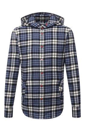 Мужская хлопковая рубашка KITON синего цвета, арт. UMCMARH0786907 | Фото 1 (Материал внешний: Хлопок; Случай: Повседневный; Принт: Клетка; Манжеты: На кнопках; Рубашки М: Regular Fit; Воротник: С капюшоном; Рукава: Длинные; Стили: Кэжуэл; Длина (для топов): Стандартные)