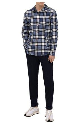Мужская хлопковая рубашка KITON синего цвета, арт. UMCMARH0786907 | Фото 2 (Материал внешний: Хлопок; Случай: Повседневный; Принт: Клетка; Манжеты: На кнопках; Рубашки М: Regular Fit; Воротник: С капюшоном; Рукава: Длинные; Стили: Кэжуэл; Длина (для топов): Стандартные)