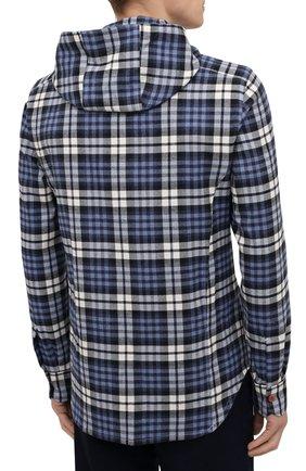 Мужская хлопковая рубашка KITON синего цвета, арт. UMCMARH0786907   Фото 4 (Принт: Клетка; Воротник: С капюшоном; Рукава: Длинные; Рубашки М: Regular Fit; Манжеты: На кнопках; Случай: Повседневный; Длина (для топов): Стандартные; Материал внешний: Хлопок; Стили: Кэжуэл)