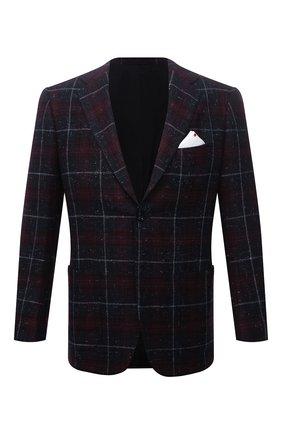 Мужской кашемировый пиджак KITON бордового цвета, арт. UG81K0117A | Фото 1 (Материал внешний: Шерсть, Кашемир; Рукава: Длинные; Длина (для топов): Стандартные; Материал подклада: Купро; Случай: Коктейльный; Пиджаки М: Приталенный; 1-2-бортные: Однобортные; Стили: Классический)