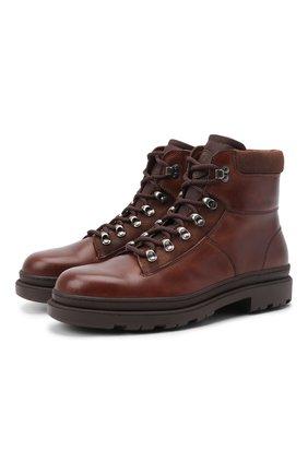 Мужские кожаные ботинки BRUNELLO CUCINELLI коричневого цвета, арт. MZUXPMI819 | Фото 1 (Материал утеплителя: Натуральный мех; Мужское Кросс-КТ: Ботинки-обувь, зимние ботинки, Хайкеры-обувь; Подошва: Массивная)