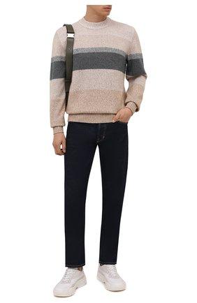 Мужской свитер из шелка и шерсти LORO PIANA бежевого цвета, арт. FAL7115 | Фото 2 (Материал внешний: Шерсть, Шелк; Длина (для топов): Стандартные; Рукава: Длинные; Мужское Кросс-КТ: Свитер-одежда; Принт: С принтом; Стили: Кэжуэл)