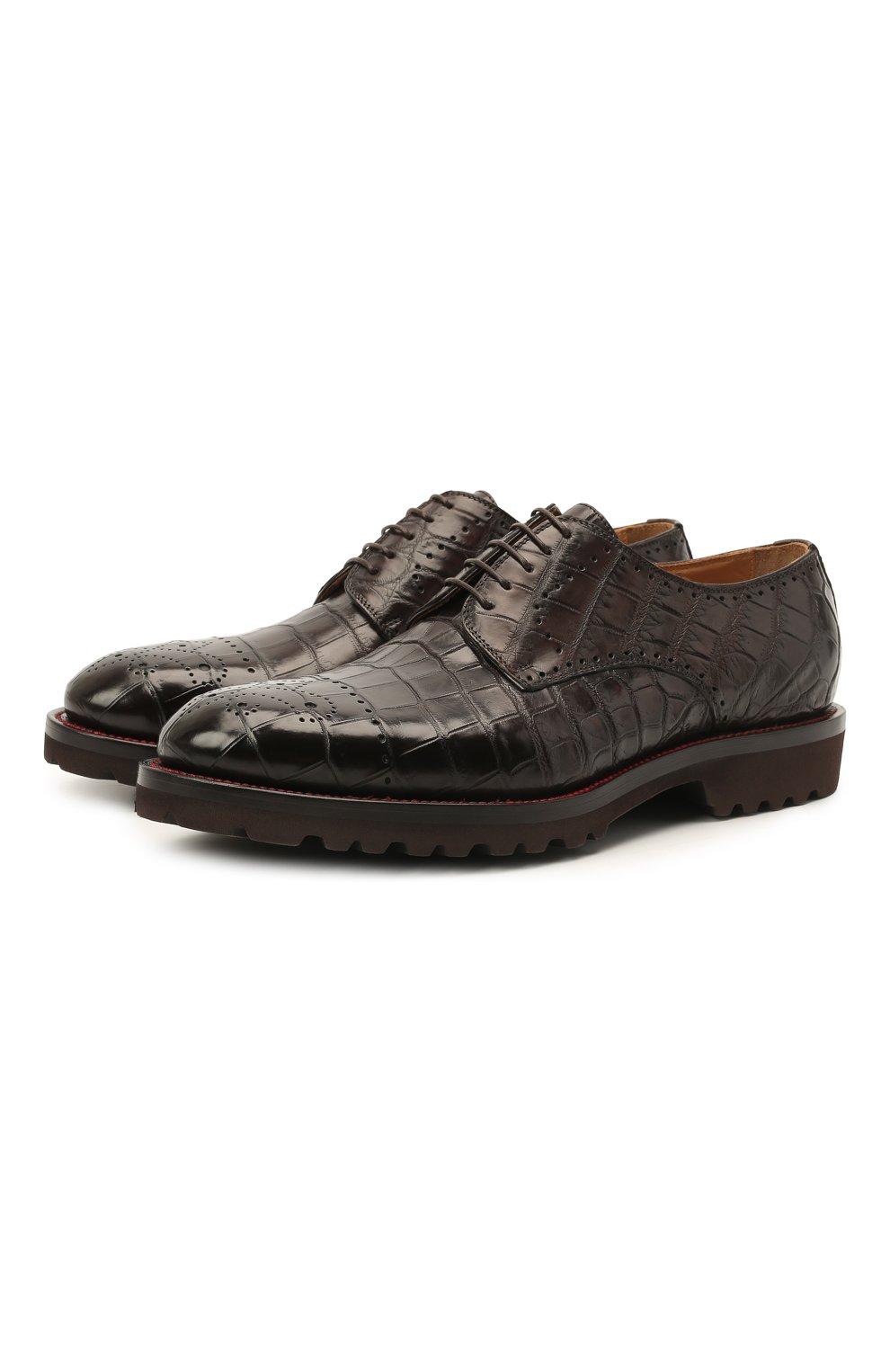 Мужские дерби из кожи крокодила KITON темно-коричневого цвета, арт. USSDECHN00102/CNIL | Фото 1 (Мужское Кросс-КТ: Броги-обувь; Материал внутренний: Натуральная кожа; Стили: Классический; Материал внешний: Экзотическая кожа)