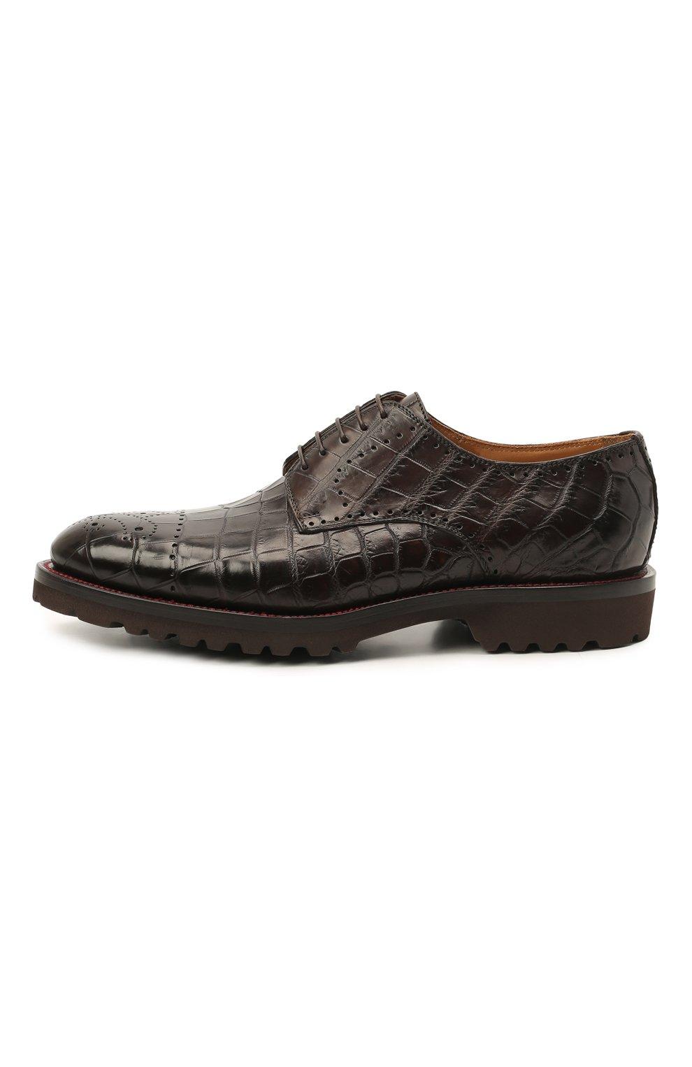 Мужские дерби из кожи крокодила KITON темно-коричневого цвета, арт. USSDECHN00102/CNIL | Фото 3 (Мужское Кросс-КТ: Броги-обувь; Материал внутренний: Натуральная кожа; Стили: Классический; Материал внешний: Экзотическая кожа)