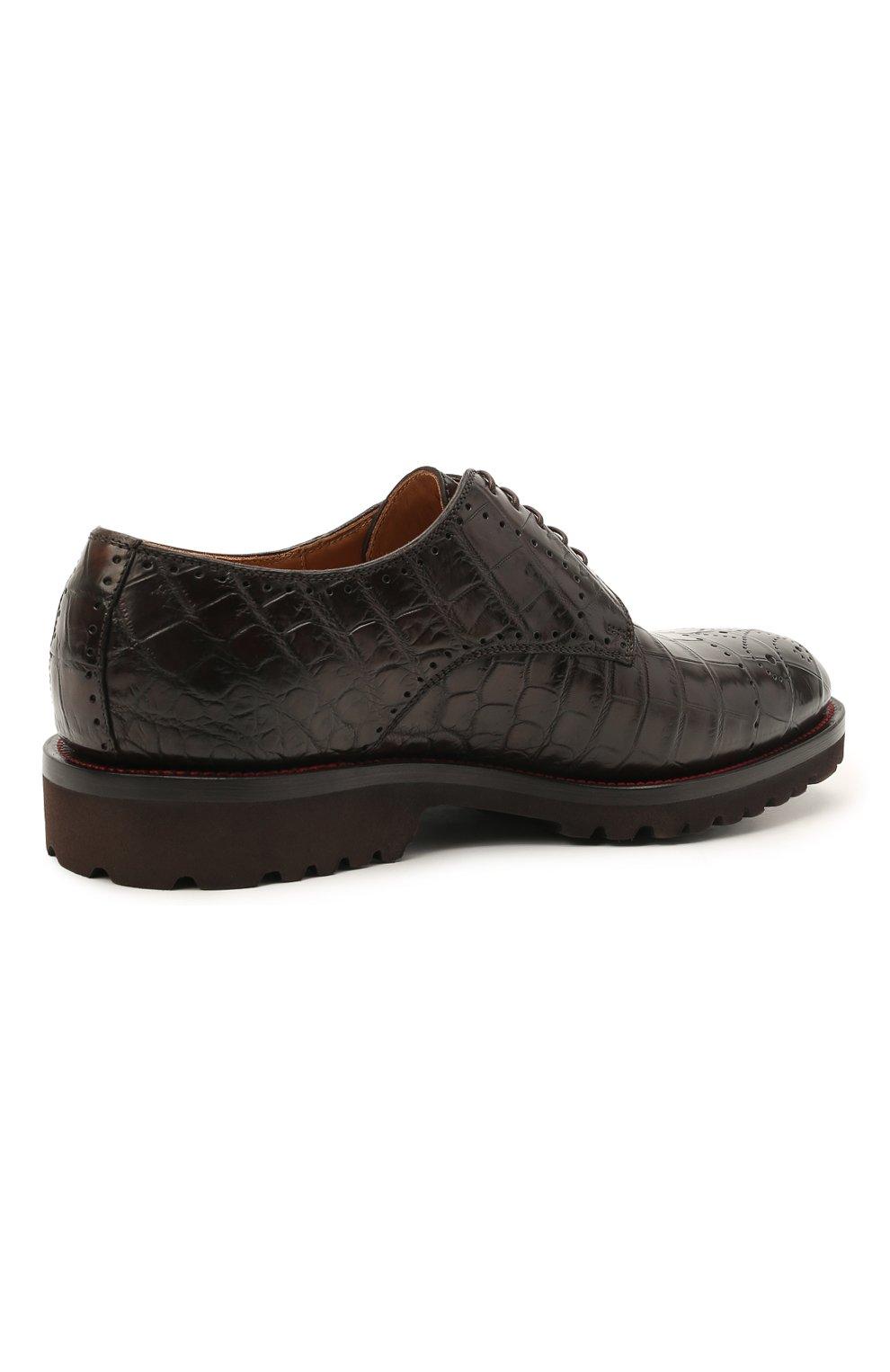 Мужские дерби из кожи крокодила KITON темно-коричневого цвета, арт. USSDECHN00102/CNIL | Фото 4 (Мужское Кросс-КТ: Броги-обувь; Материал внутренний: Натуральная кожа; Стили: Классический; Материал внешний: Экзотическая кожа)