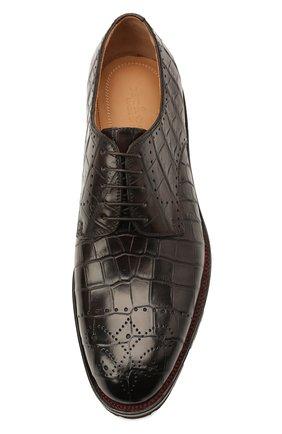 Мужские дерби из кожи крокодила KITON темно-коричневого цвета, арт. USSDECHN00102/CNIL | Фото 5 (Мужское Кросс-КТ: Броги-обувь; Материал внутренний: Натуральная кожа; Стили: Классический; Материал внешний: Экзотическая кожа)
