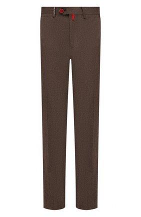 Мужские брюки из шерсти и кашемира KITON коричневого цвета, арт. UFPP79K0121A | Фото 1 (Случай: Повседневный; Материал подклада: Купро; Материал внешний: Шерсть; Стили: Кэжуэл; Длина (брюки, джинсы): Стандартные)