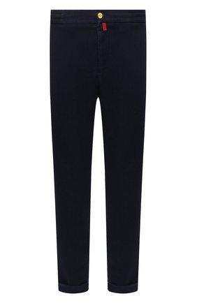 Мужские джинсы KITON темно-синего цвета, арт. UFPLAC/J0335A   Фото 1 (Материал внешний: Хлопок, Шерсть; Кросс-КТ: Деним; Силуэт М (брюки): Прямые; Стили: Кэжуэл; Длина (брюки, джинсы): Стандартные)