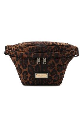 Мужская текстильная поясная сумка sicily DOLCE & GABBANA леопардового цвета, арт. BM2009/A0824 | Фото 1