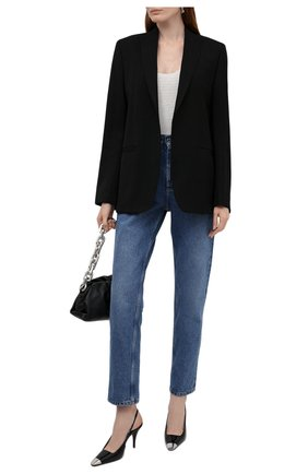 Женские кожаные туфли blade SAINT LAURENT черного цвета, арт. 658095/0NPNN | Фото 2 (Каблук высота: Высокий; Подошва: Плоская; Материал внутренний: Натуральная кожа; Каблук тип: Шпилька)