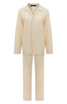 Женская льняная пижама LORO PIANA светло-бежевого цвета, арт. FAL1536   Фото 1 (Материал внешний: Лен; Длина Ж (юбки, платья, шорты): Мини; Длина (для топов): Удлиненные; Длина (брюки, джинсы): Стандартные; Рукава: Длинные)