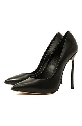 Женские кожаные туфли blade CASADEI черного цвета, арт. 1F410D125HHMIN09000   Фото 1
