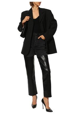 Женские кожаные туфли blade CASADEI черного цвета, арт. 1F410D125HHMIN09000   Фото 2