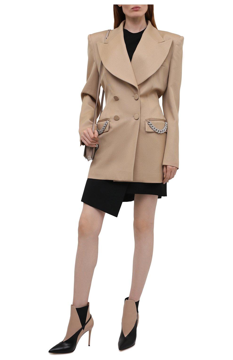 Женские кожаные ботильоны CASADEI бежевого цвета, арт. 1Q124T1001MIN0RA405   Фото 2 (Каблук высота: Высокий; Материал внутренний: Натуральная кожа; Каблук тип: Шпилька; Подошва: Плоская)