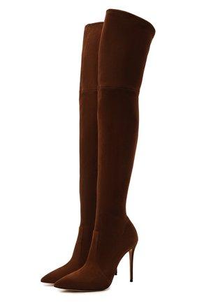 Женские замшевые ботфорты julia CASADEI коричневого цвета, арт. 1T853E1001T00052608   Фото 1