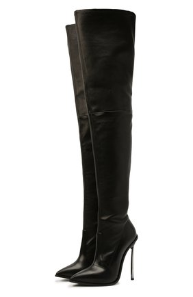 Женские кожаные ботфорты CASADEI черного цвета, арт. 1T980T120MZNGST9000   Фото 1