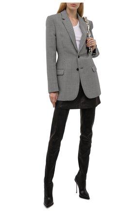 Женские кожаные ботфорты CASADEI черного цвета, арт. 1T980T120MZNGST9000   Фото 2