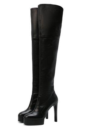 Женские кожаные ботфорты CASADEI черного цвета, арт. 1T982T1201T00539000   Фото 1