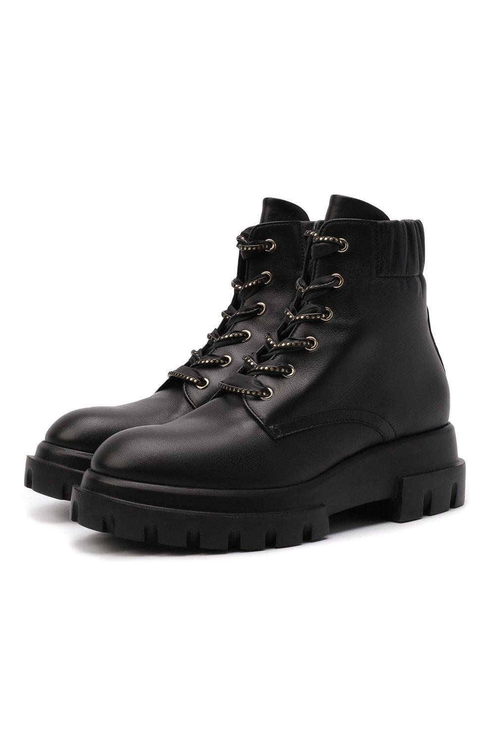 Женские кожаные ботинки AGL черного цвета, арт. D756549PGKA0761013 | Фото 1 (Подошва: Платформа; Каблук высота: Низкий; Материал внутренний: Натуральная кожа; Женское Кросс-КТ: Хайкеры-ботинки)