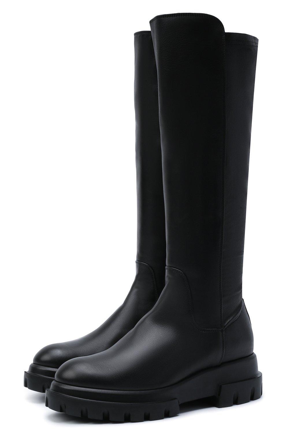 Женские кожаные сапоги AGL черного цвета, арт. D756564PGKA1121049 | Фото 1 (Материал внешний: Текстиль; Подошва: Платформа; Высота голенища: Средние; Каблук высота: Низкий; Материал внутренний: Натуральная кожа; Каблук тип: Устойчивый)