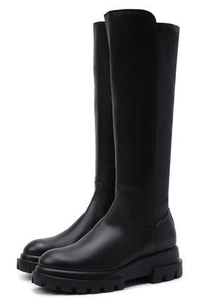 Женские кожаные сапоги AGL черного цвета, арт. D756564PGKA1121049 | Фото 1 (Высота голенища: Средние; Подошва: Платформа; Каблук высота: Низкий; Материал внутренний: Натуральная кожа; Материал внешний: Текстиль; Каблук тип: Устойчивый)