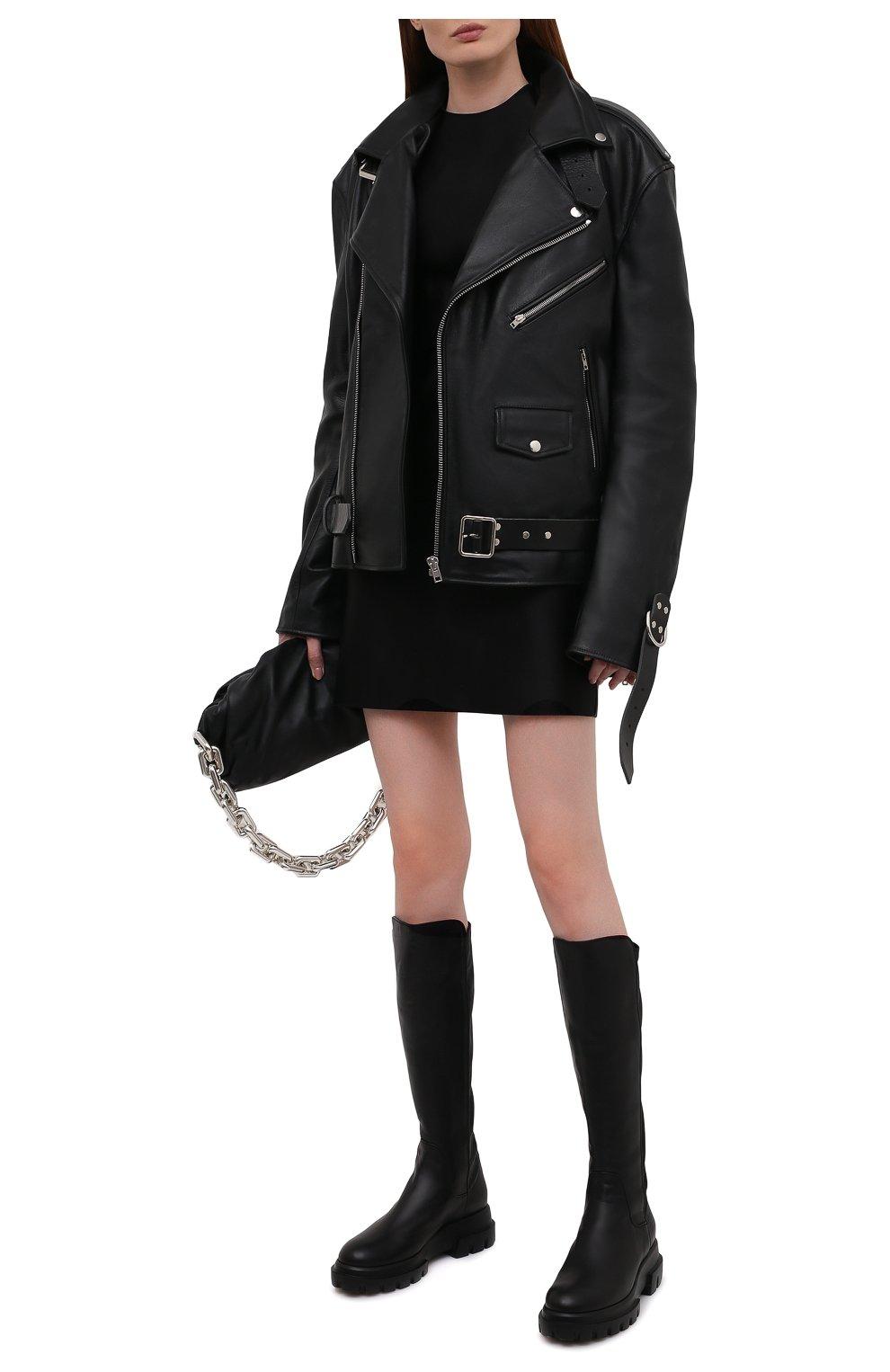 Женские кожаные сапоги AGL черного цвета, арт. D756564PGKA1121049 | Фото 2 (Материал внешний: Текстиль; Подошва: Платформа; Высота голенища: Средние; Каблук высота: Низкий; Материал внутренний: Натуральная кожа; Каблук тип: Устойчивый)