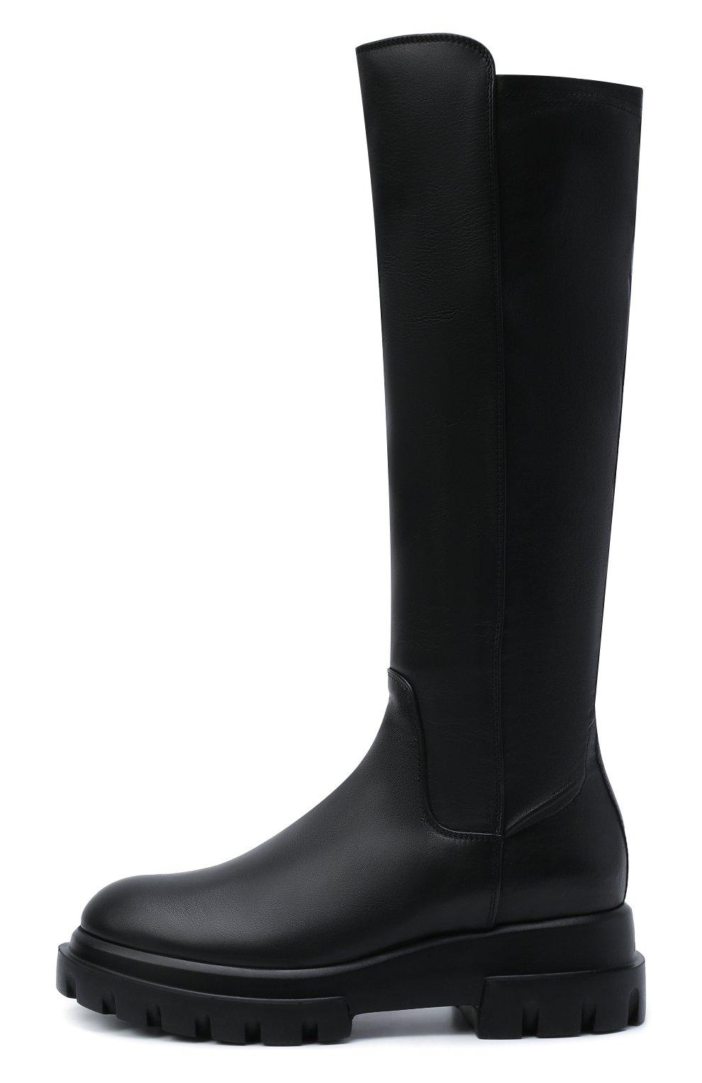 Женские кожаные сапоги AGL черного цвета, арт. D756564PGKA1121049 | Фото 3 (Материал внешний: Текстиль; Подошва: Платформа; Высота голенища: Средние; Каблук высота: Низкий; Материал внутренний: Натуральная кожа; Каблук тип: Устойчивый)