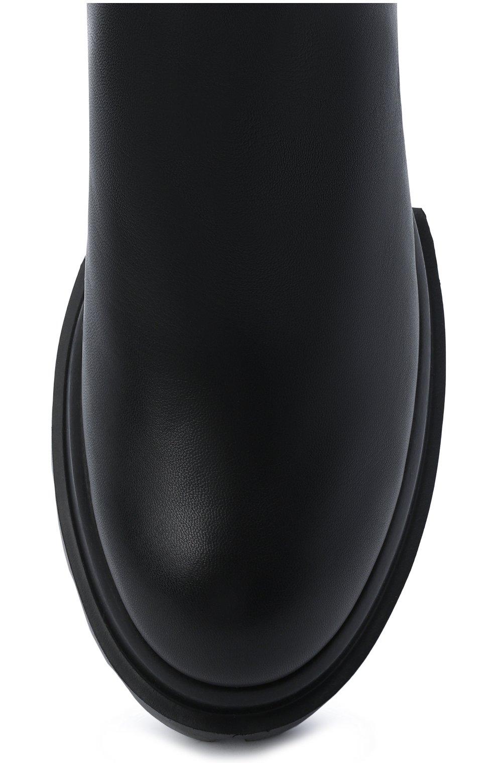 Женские кожаные сапоги AGL черного цвета, арт. D756564PGKA1121049 | Фото 5 (Материал внешний: Текстиль; Подошва: Платформа; Высота голенища: Средние; Каблук высота: Низкий; Материал внутренний: Натуральная кожа; Каблук тип: Устойчивый)