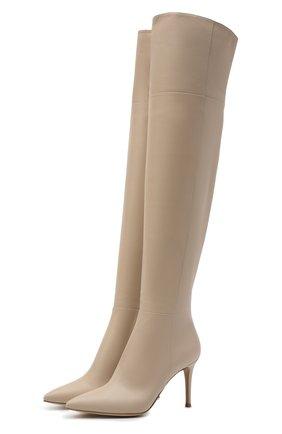 Женские кожаные ботфорты bea cuissard GIANVITO ROSSI кремвого цвета, арт. G80494.85RIC.NVIM0US   Фото 1 (Материал внутренний: Натуральная кожа; Каблук тип: Шпилька; Каблук высота: Высокий; Высота голенища: Высокие; Подошва: Плоская)