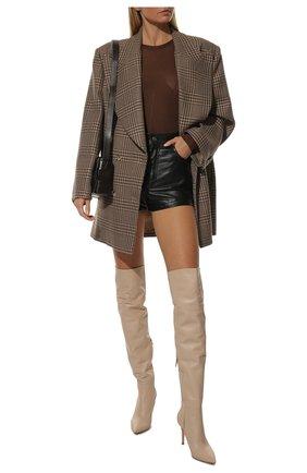 Женские кожаные ботфорты bea cuissard GIANVITO ROSSI кремвого цвета, арт. G80494.85RIC.NVIM0US   Фото 2 (Материал внутренний: Натуральная кожа; Каблук тип: Шпилька; Каблук высота: Высокий; Высота голенища: Высокие; Подошва: Плоская)
