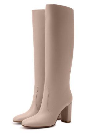 Женские кожаные сапоги glen GIANVITO ROSSI кремвого цвета, арт. G80627.85RIC.VGIM0US   Фото 1 (Каблук высота: Высокий; Высота голенища: Средние; Материал внутренний: Натуральная кожа; Подошва: Плоская; Каблук тип: Устойчивый)
