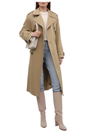 Женские кожаные сапоги glen GIANVITO ROSSI кремвого цвета, арт. G80627.85RIC.VGIM0US   Фото 2 (Каблук высота: Высокий; Высота голенища: Средние; Материал внутренний: Натуральная кожа; Подошва: Плоская; Каблук тип: Устойчивый)