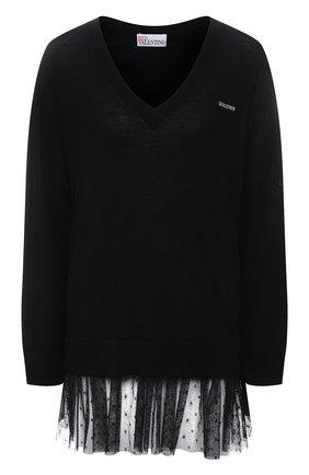 Женский шерстяной пуловер REDVALENTINO черного цвета, арт. WR3KC09L/64N | Фото 1 (Длина (для топов): Удлиненные; Материал внешний: Шерсть; Рукава: Длинные; Женское Кросс-КТ: Пуловер-одежда; Стили: Романтичный)