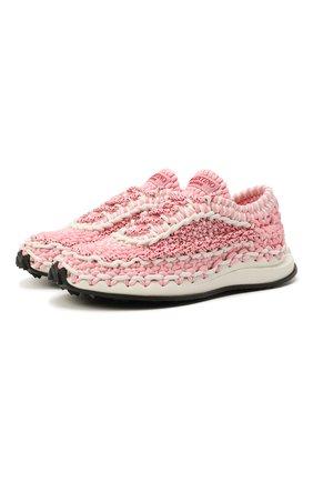 Женские текстильные кроссовки spiral knot VALENTINO светло-розового цвета, арт. WW2S0BU6/ZXB | Фото 1