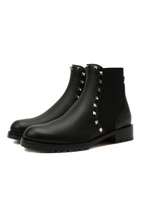 Женские кожаные ботинки rockstud VALENTINO черного цвета, арт. WW2S0D47/VSL | Фото 1 (Подошва: Плоская; Материал внутренний: Натуральная кожа; Каблук высота: Низкий; Женское Кросс-КТ: Челси-ботинки)