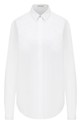 Женская хлопковая рубашка SAINT LAURENT белого цвета, арт. 512192/Y227W | Фото 1 (Длина (для топов): Удлиненные; Рукава: Длинные; Материал внешний: Хлопок; Женское Кросс-КТ: Рубашка-одежда; Стили: Кэжуэл; Принт: Без принта)