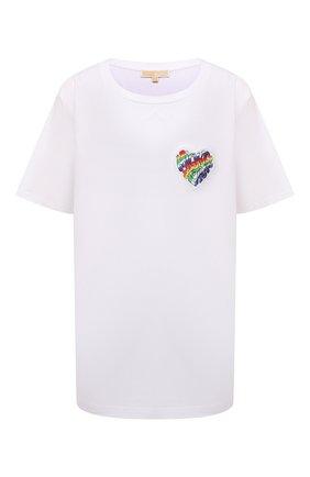 Женская хлопковая футболка MICHAEL MICHAEL KORS белого цвета, арт. MU1503B97J | Фото 1