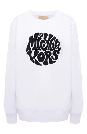 Женский хлопковый свитшот MICHAEL MICHAEL KORS белого цвета, арт. MU150BG23G | Фото 1