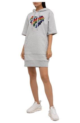 Женское хлопковое платье MICHAEL MICHAEL KORS серого цвета, арт. MU180MM23G | Фото 2