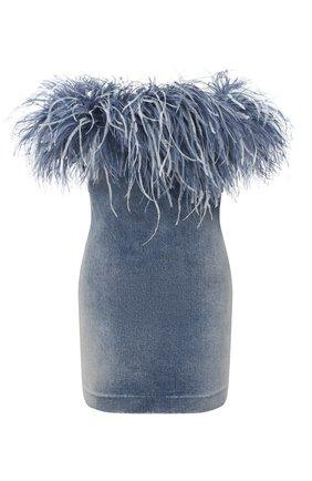 Женское джинсовое платье SAINT LAURENT синего цвета, арт. 614782/YS593 | Фото 1 (Длина Ж (юбки, платья, шорты): Мини; Материал подклада: Шелк; Материал внешний: Хлопок; Женское Кросс-КТ: Платье-одежда; Кросс-КТ: Деним; Стили: Гламурный; Случай: Вечерний)