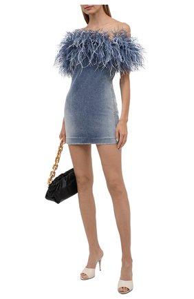 Женское джинсовое платье SAINT LAURENT синего цвета, арт. 614782/YS593 | Фото 2 (Длина Ж (юбки, платья, шорты): Мини; Материал подклада: Шелк; Материал внешний: Хлопок; Женское Кросс-КТ: Платье-одежда; Кросс-КТ: Деним; Стили: Гламурный; Случай: Вечерний)