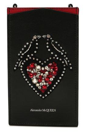 Кожаный футляр для телефона ALEXANDER MCQUEEN черного цвета, арт. 658446/1LYZZ   Фото 1