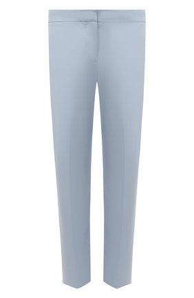 Женские шерстяные брюки ALEXANDER MCQUEEN голубого цвета, арт. 584873/QJACB   Фото 1 (Материал внешний: Шерсть; Длина (брюки, джинсы): Укороченные; Женское Кросс-КТ: Брюки-одежда; Силуэт Ж (брюки и джинсы): Прямые; Стили: Романтичный)