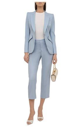 Женские шерстяные брюки ALEXANDER MCQUEEN голубого цвета, арт. 584873/QJACB | Фото 2