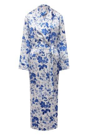 Женский хлопковый халат YOLKE светло-голубого цвета, арт. AW21-01S-WAL-BL | Фото 1 (Материал внешний: Шелк; Рукава: Длинные; Длина Ж (юбки, платья, шорты): Миди)