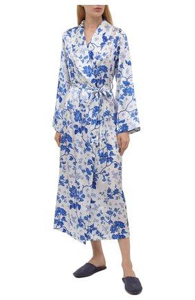 Женский хлопковый халат YOLKE светло-голубого цвета, арт. AW21-01S-WAL-BL | Фото 2 (Материал внешний: Шелк; Рукава: Длинные; Длина Ж (юбки, платья, шорты): Миди)