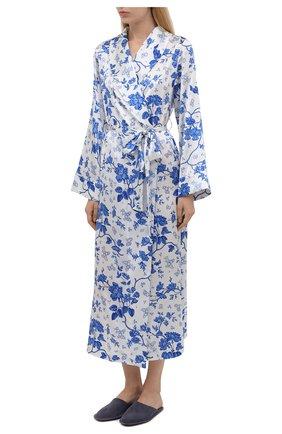 Женский хлопковый халат YOLKE светло-голубого цвета, арт. AW21-01S-WAL-BL | Фото 3 (Материал внешний: Шелк; Рукава: Длинные; Длина Ж (юбки, платья, шорты): Миди)