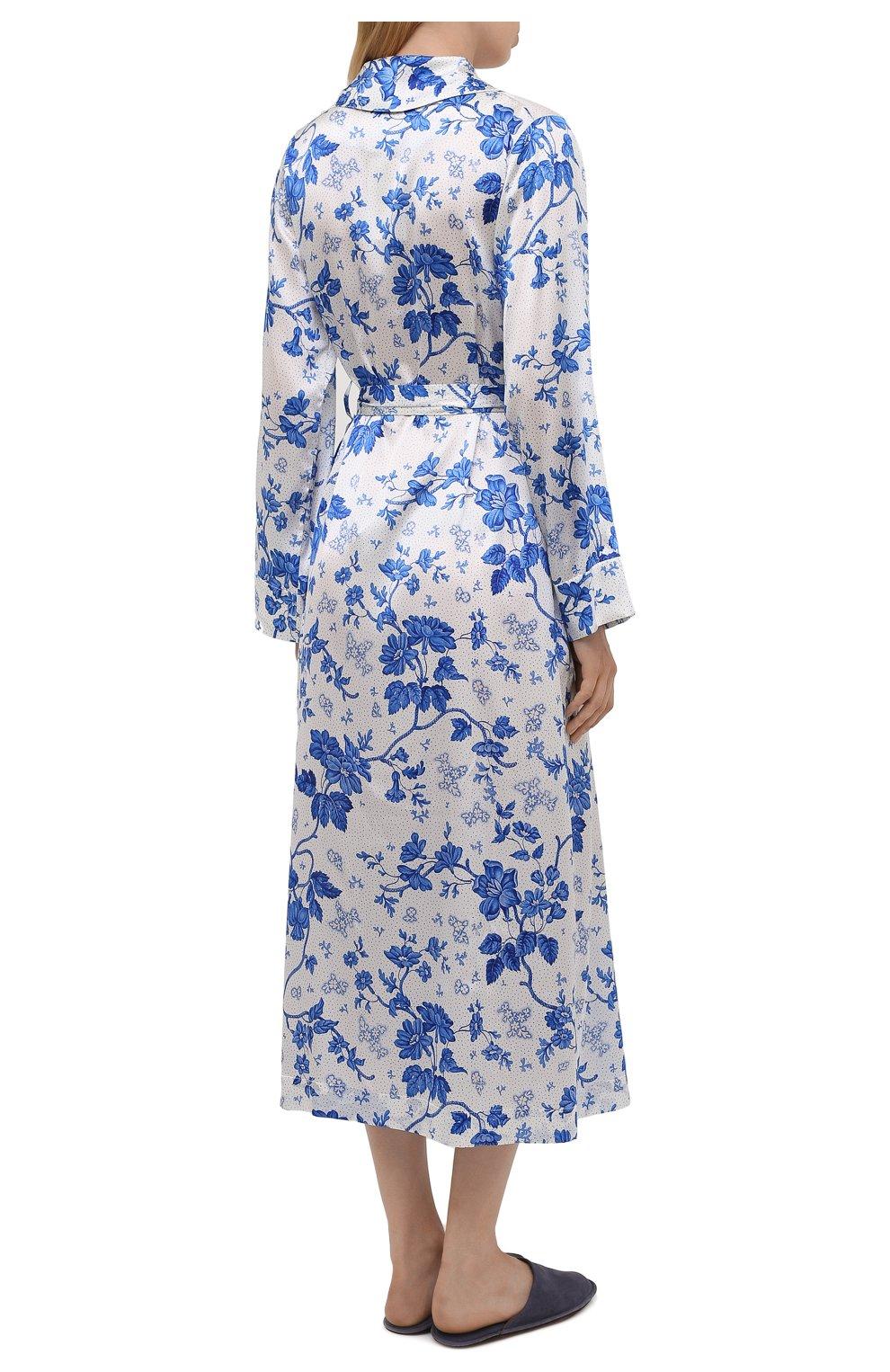 Женский хлопковый халат YOLKE светло-голубого цвета, арт. AW21-01S-WAL-BL | Фото 4 (Материал внешний: Шелк; Рукава: Длинные; Длина Ж (юбки, платья, шорты): Миди)