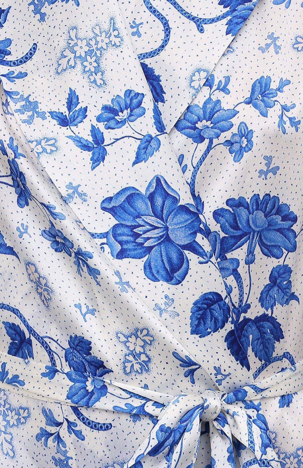 Женский хлопковый халат YOLKE светло-голубого цвета, арт. AW21-01S-WAL-BL | Фото 5 (Материал внешний: Шелк; Рукава: Длинные; Длина Ж (юбки, платья, шорты): Миди)